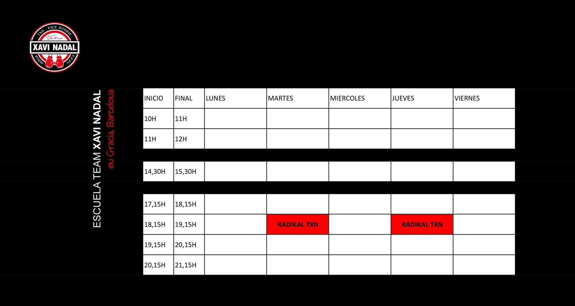 horario de clases de radikal txn